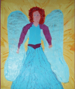 Angel with a blue gown and blue wings