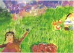 Girl in meadow with mountains and children in the back
