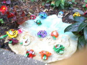 Turtles in a dish in a garden