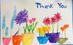 """Water color flowers in vases """"Thank You"""""""