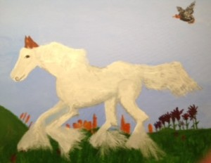 White horse chased by flying turkey