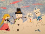 Snow girl in poodle skirt with hippy, disco head and marshmallow snowmen