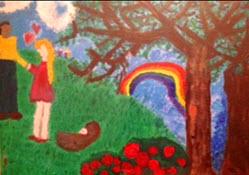 Rainbow with happy man woman baby