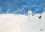 Snowman and squirrel on pond