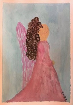 Alt Text = Brown haired angel in pink and rose