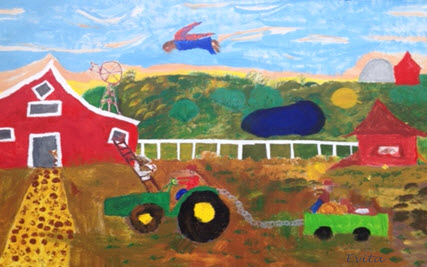 Alt Text = Farm scene Red barn, animals, angel, tractor