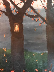 Dark sky Owl in tree and orange leaves on 2 trees