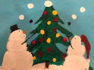Alt Text = Two snowmen toss snowballs onto tree