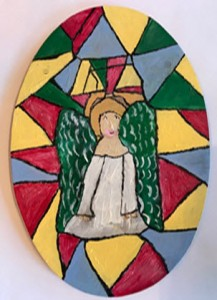 Angel in stained class painting