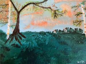 Alt Text = 2 birch, grass, wren flying at sunset