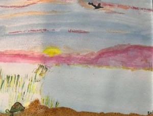Alt text= watercolor lake at sunrise turtle crow