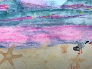 Alt text=watercolor tern on beach with sunset