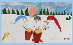 3 snowmen, drums and yellow bird