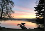 alt text = Sunrise reflects on lake