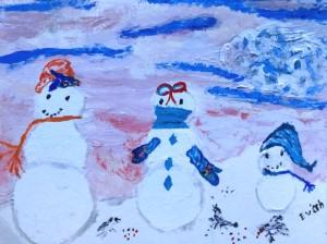 alt txt= 3 snowmen feed chickadees under pink sky