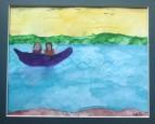 alt text=2 females fishing in purple boat
