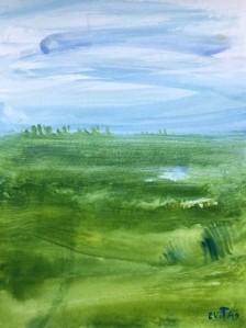 Alt text = Blue Jay, grasses, shrubs and sky