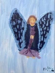 Alt Text Angel in Blue Light Blue Background