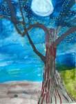 Alt txt= tree full moon night sky